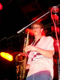 Chris' swirling saxophone in Huntsville, AL - 8.31.01